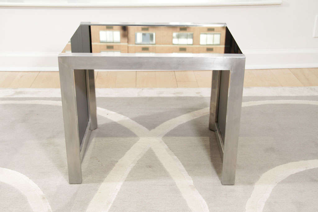 Mid-Century Modernist Side Table in Brushed Chrome and Black Vitrolite 3