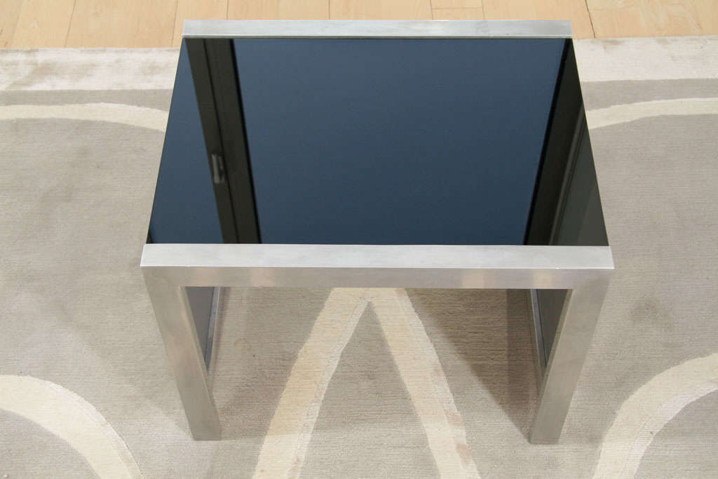 Mid-Century Modernist Side Table in Brushed Chrome and Black Vitrolite 5