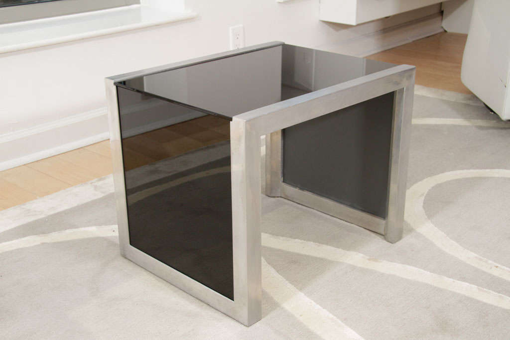 Mid-Century Modernist Side Table in Brushed Chrome and Black Vitrolite 7