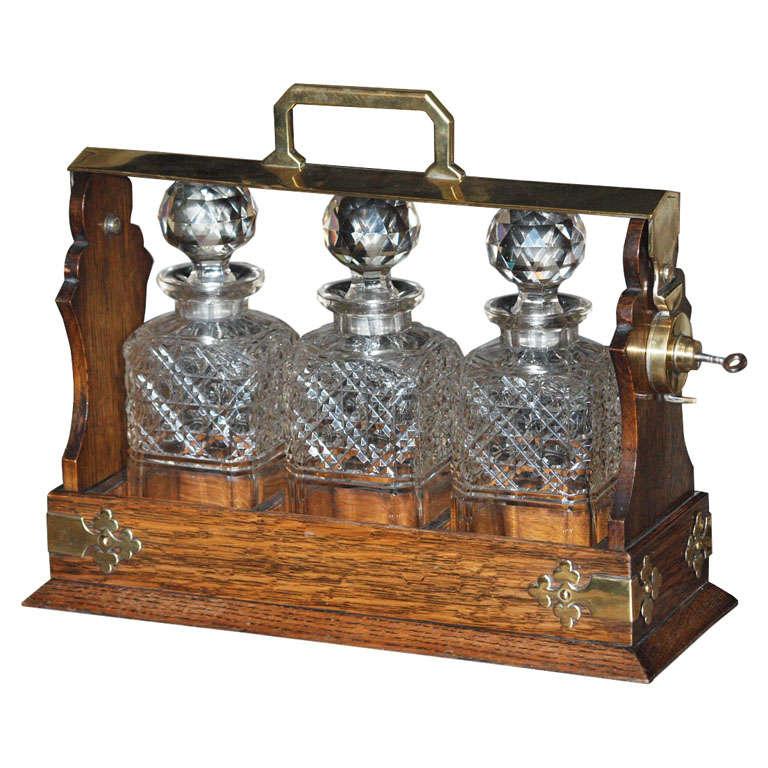 L 5550 Antique English Oak And Brass Three Bottle