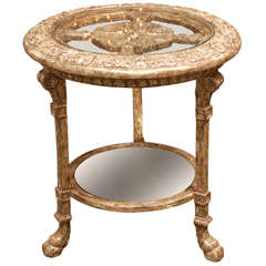 Elaborately Carved Claw-Footed Side Table