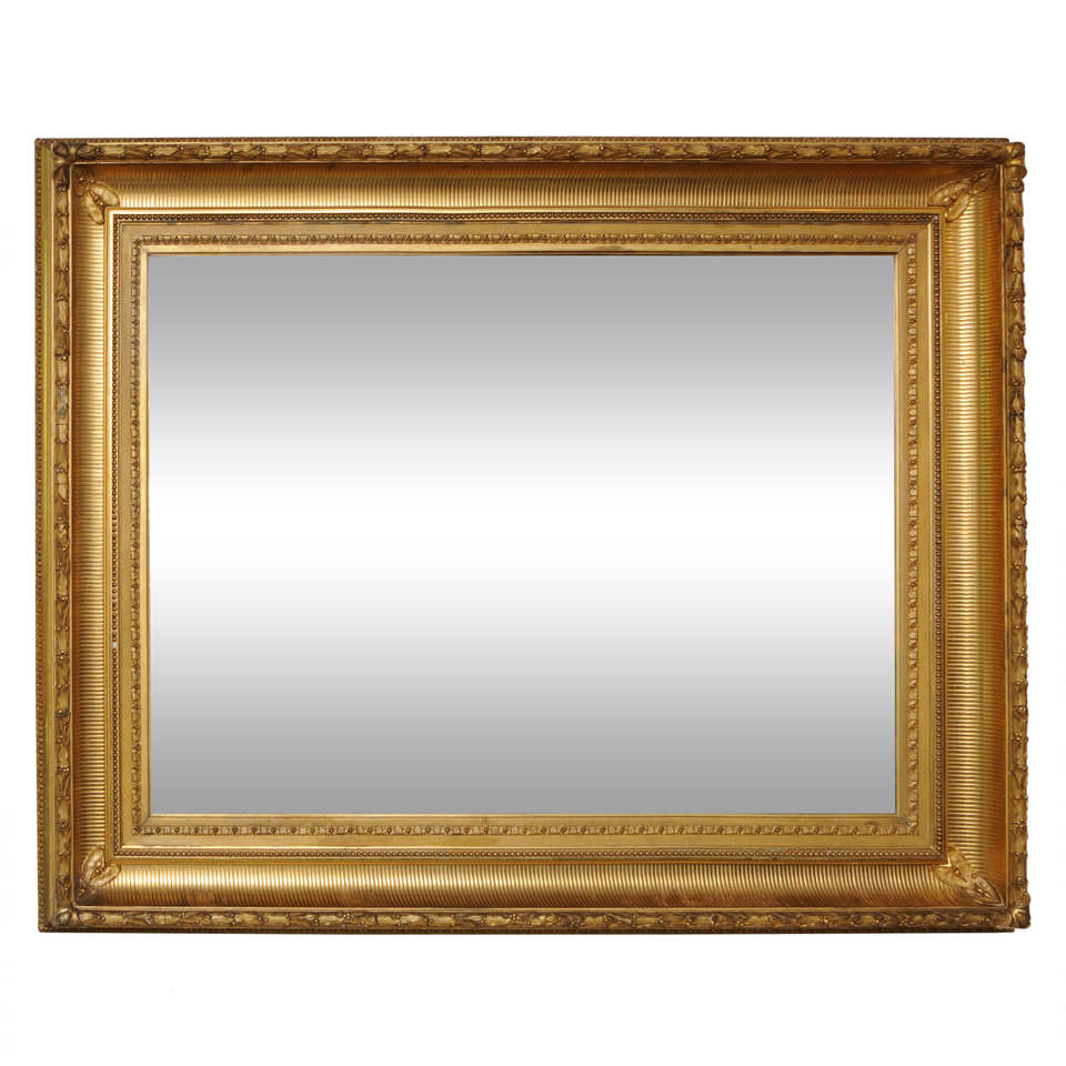 Museum american gilt framed mirror gold leaf 19th for Gold wall mirror