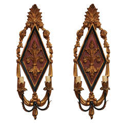 Pair of Italian Carved Two-light Sconces