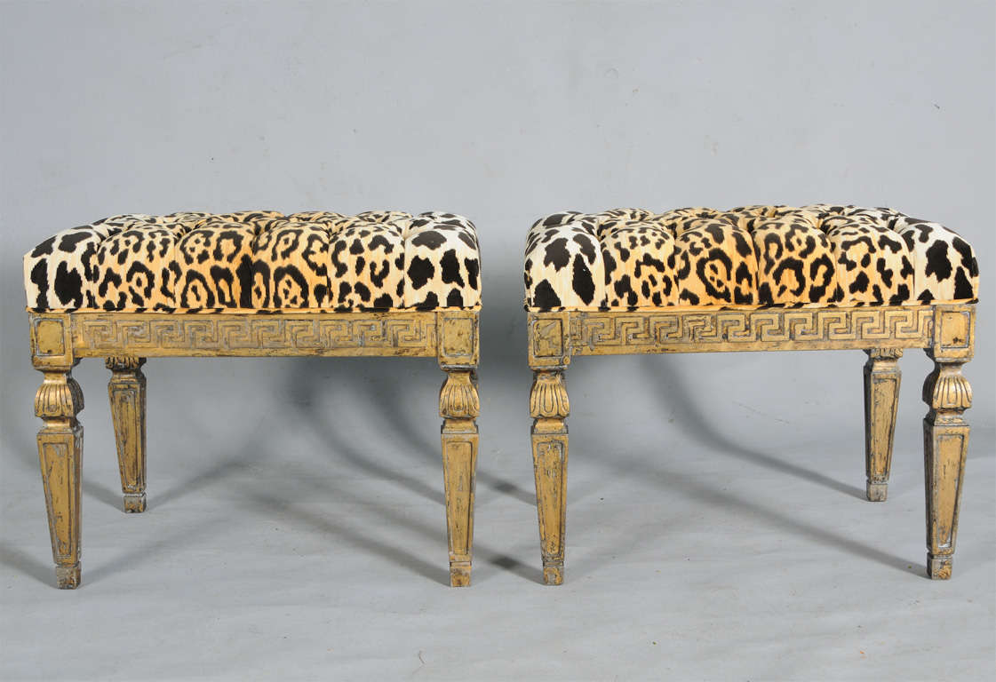 Pair of gilt benches with greek key apron and leopard Leopard print bench