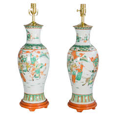 Pair of 19c. Chinese Porcelain Vase Lamps
