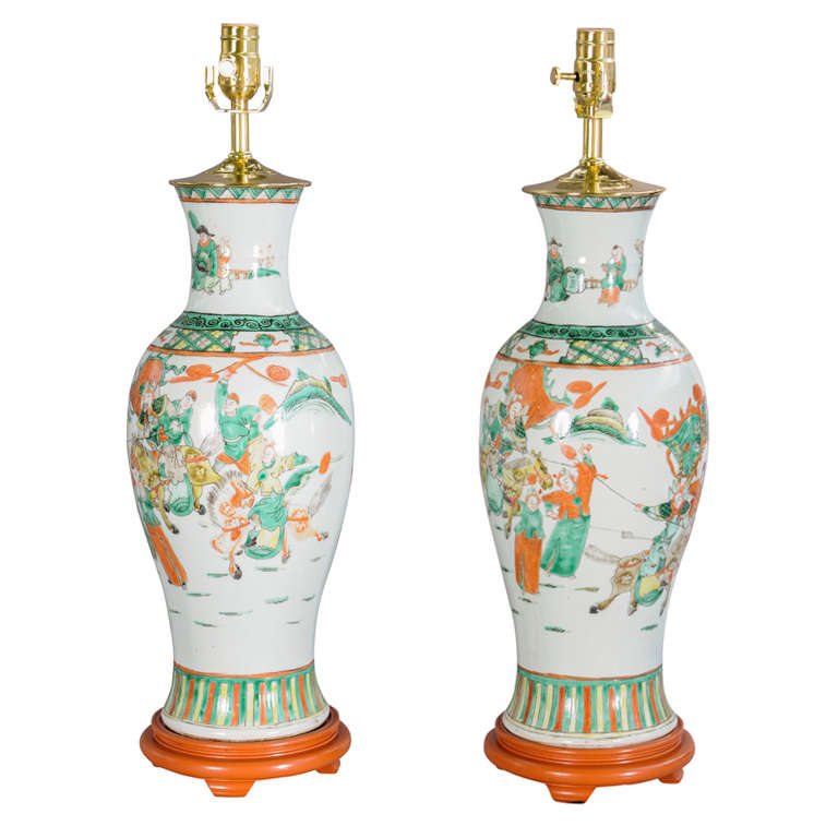 Pair Of 19c Chinese Porcelain Vase Lamps For Sale At 1stdibs