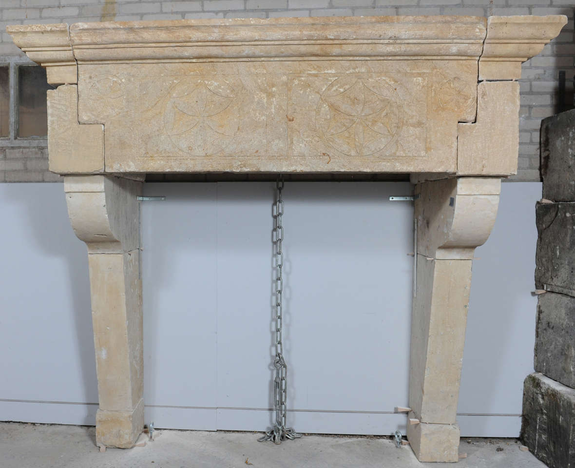 a 17th century east-french limestone castle fireplace / mantle