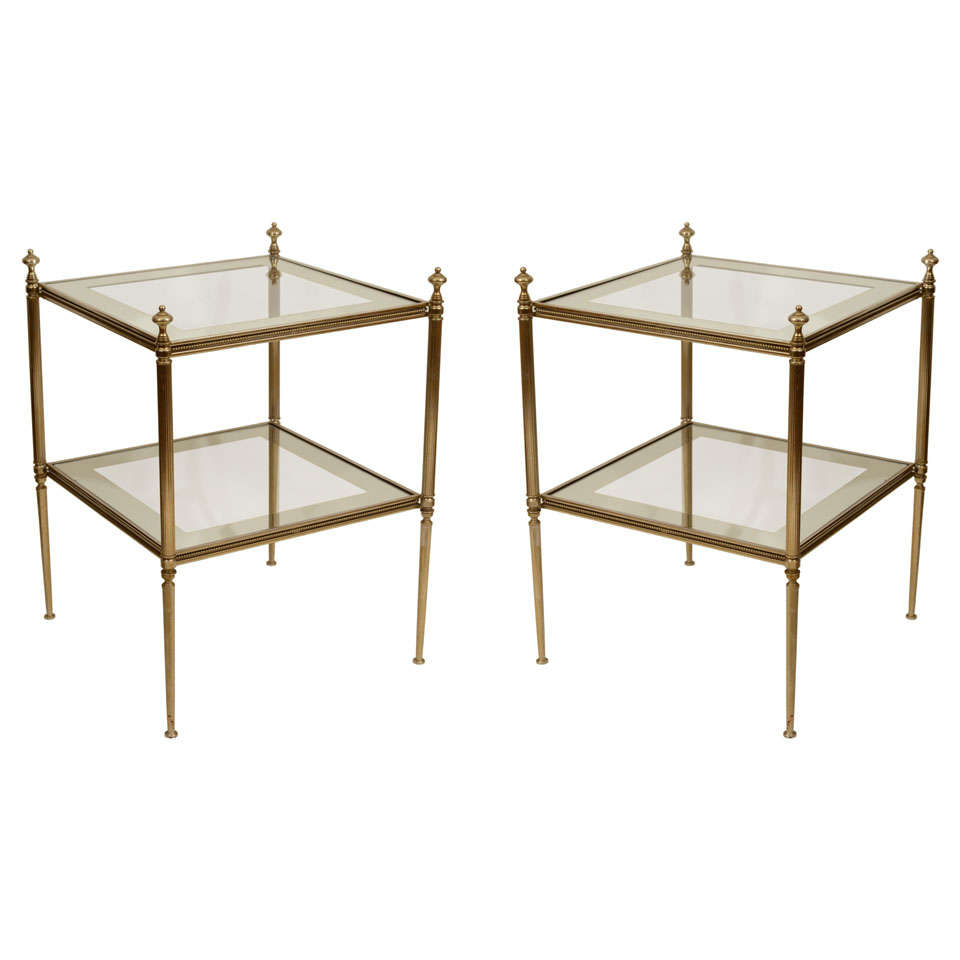 Pair Vintage Brass And Glass 2-Tier End Tables, Mid 20th