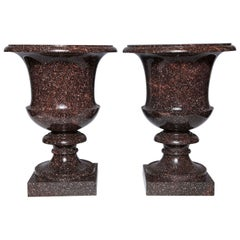 Monumental Pair of Neoclassical Period, Swedish Porphyry Campagna Shaped Vases