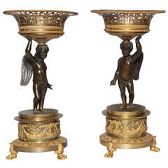 An Antique Pair of French Empire Period, Patinated & Dore Bronze Figural Centerpieces with Cupids