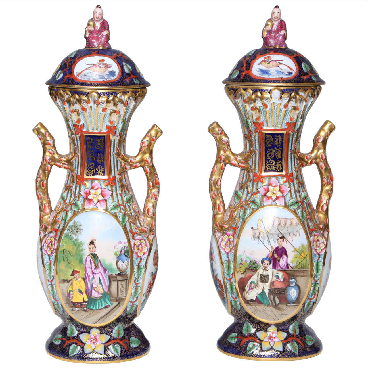 Fine pair antique french jacob petit chinosseri decorated two fine pair antique french jacob petit chinosseri decorated two handled cov for sale reviewsmspy