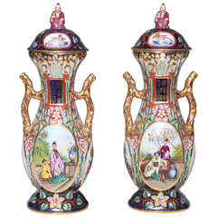 Fine Pair Antique French Jacob Petit, Chinosseri Decorated, Two Handled Cov