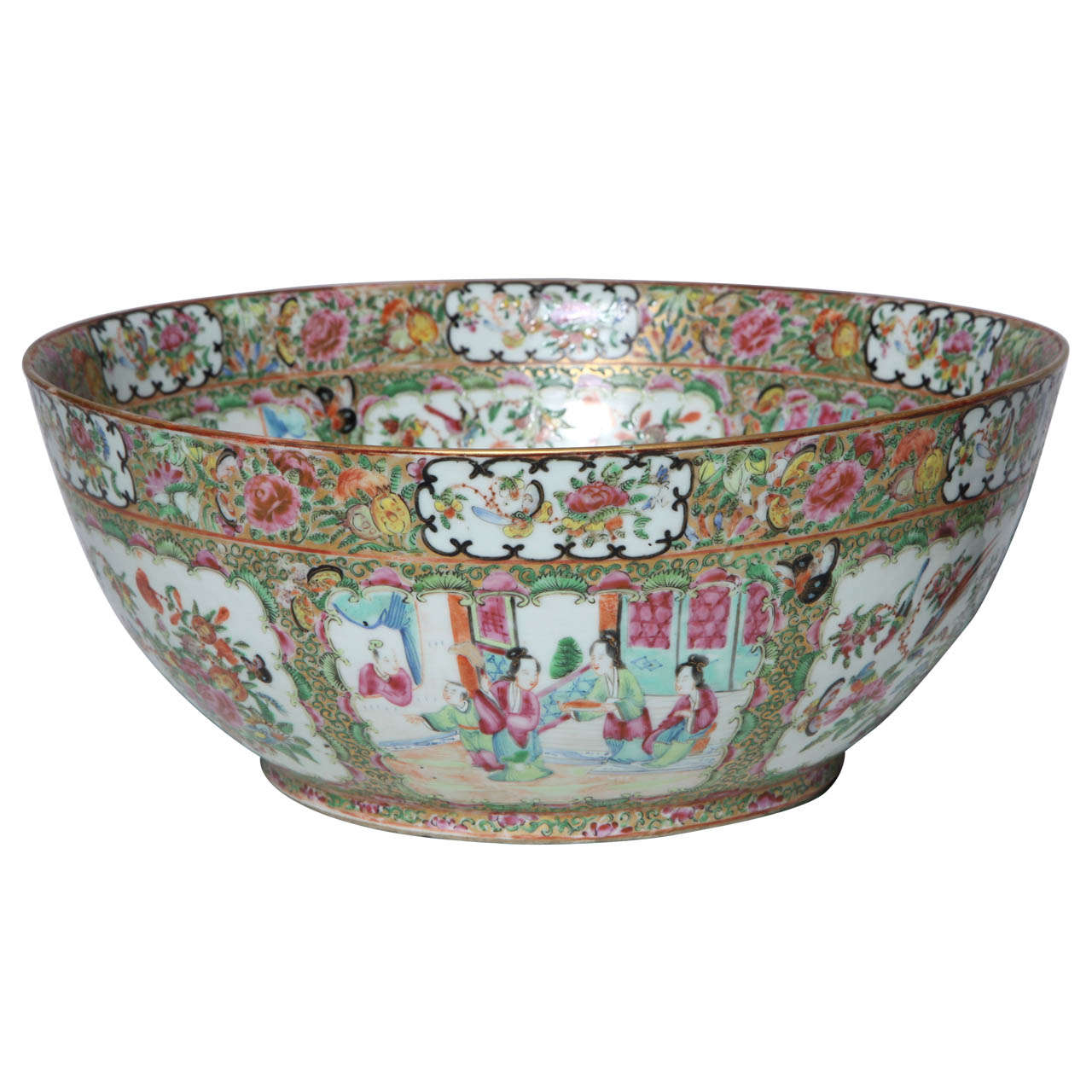A Massive 19th c.  Chinese Export Porcelain 'Canton Famille Rose' Punchbowl