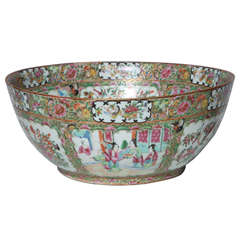 Massive 19th Century Chinese Export Porcelain 'Canton Famille Rose' Punchbowl