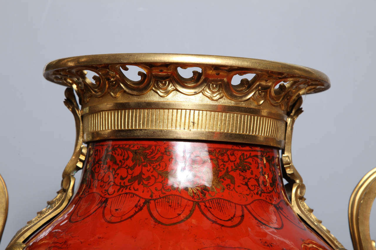 19th Century Large Pair of French Red Lacquer, Chinoiserie Decorated and Ormolu-Mounted Vases For Sale