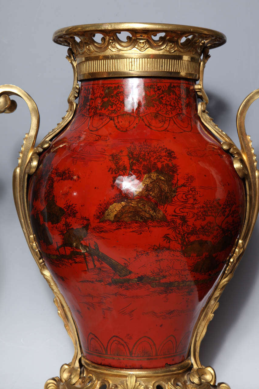 Bronze Large Pair of French Red Lacquer, Chinoiserie Decorated and Ormolu-Mounted Vases For Sale