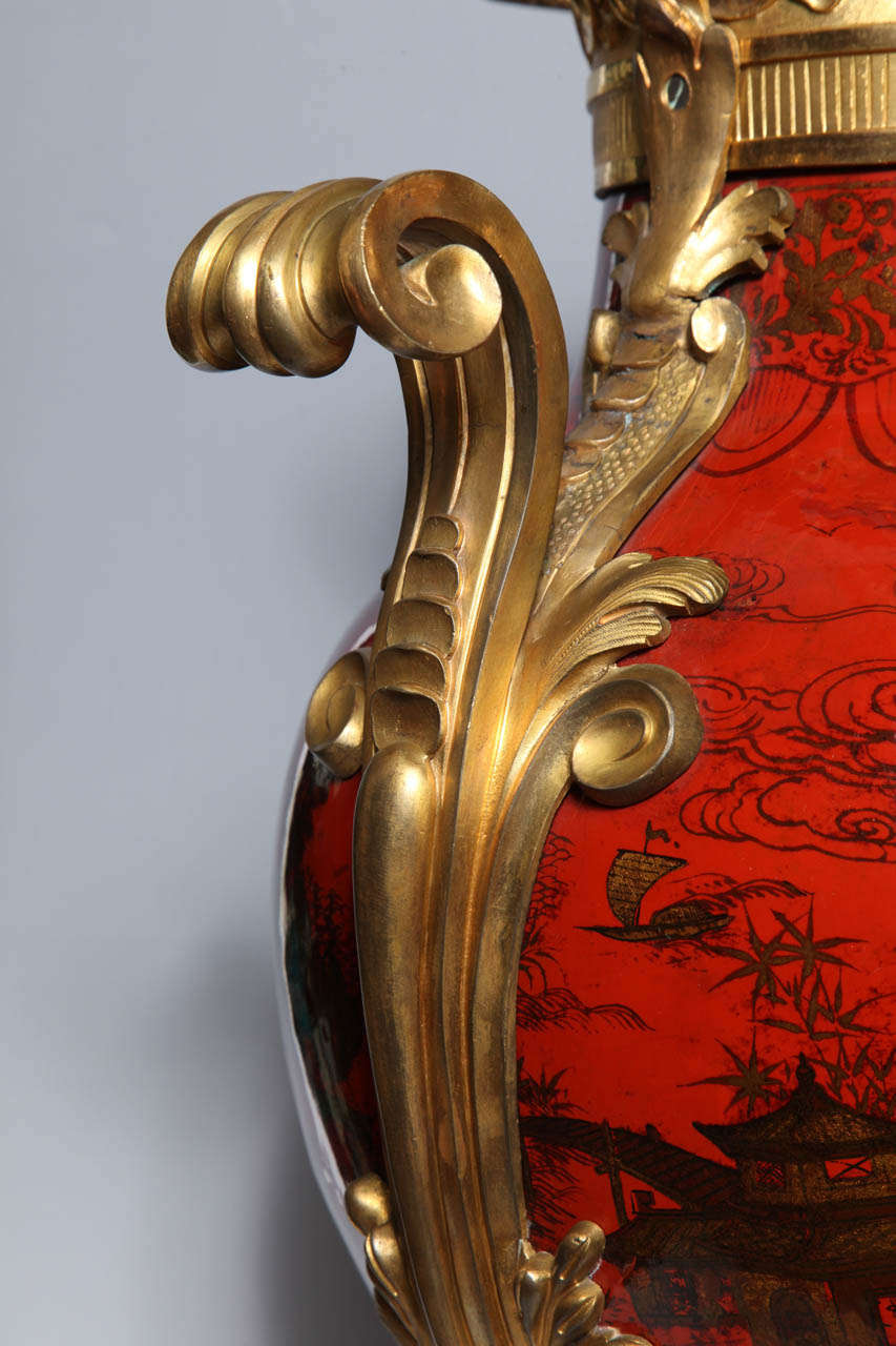 Large Pair of French Red Lacquer, Chinoiserie Decorated and Ormolu-Mounted Vases For Sale 1