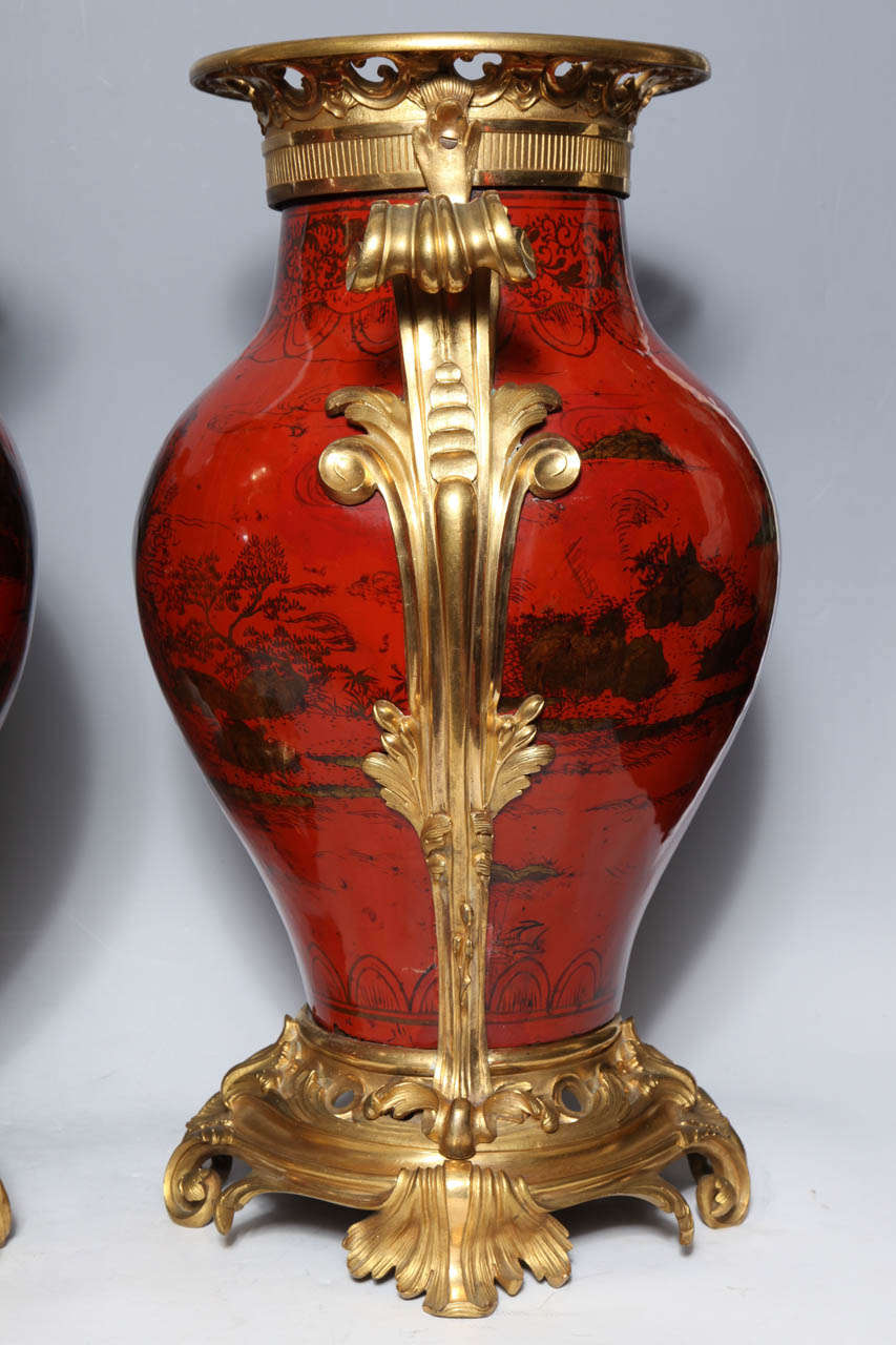 Large Pair of French Red Lacquer, Chinoiserie Decorated and Ormolu-Mounted Vases For Sale 2