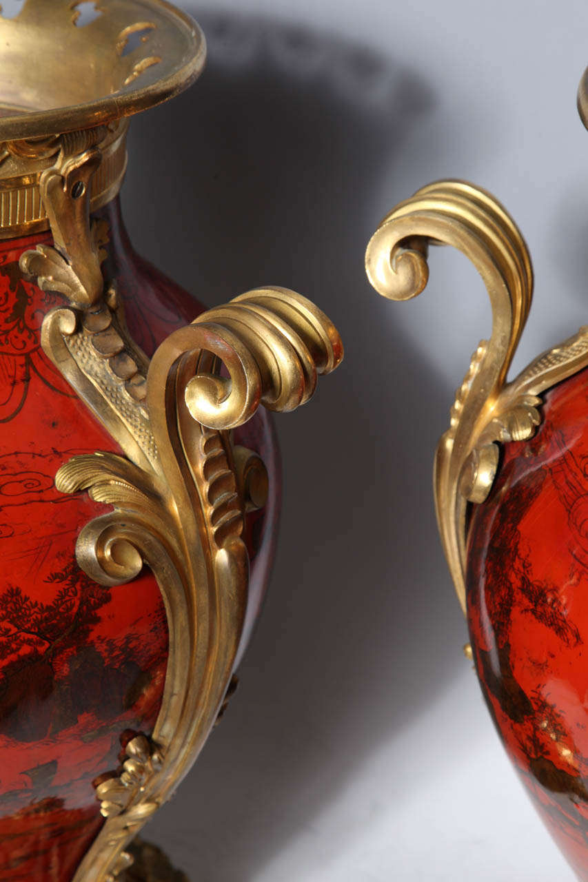 Large Pair of French Red Lacquer, Chinoiserie Decorated and Ormolu-Mounted Vases For Sale 3