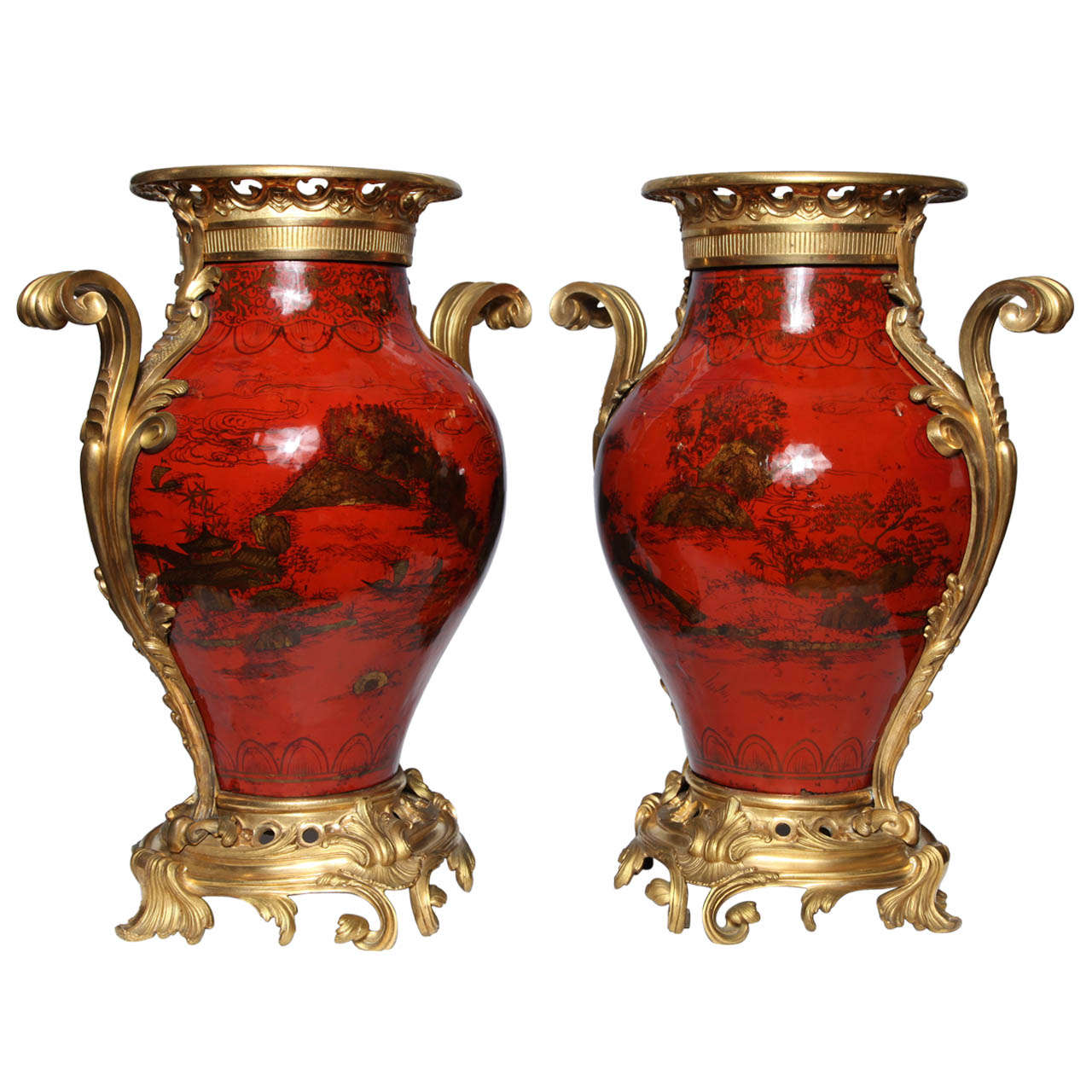 Large Pair of French Red Lacquer, Chinoiserie Decorated and Ormolu-Mounted Vases For Sale