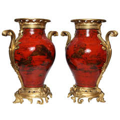 Large Pair of French Red Lacquer, Chinoiserie Decorated and Ormolu-Mounted Vases