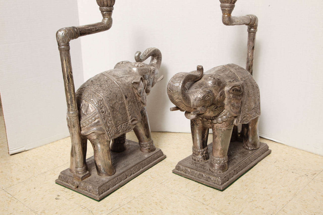 Pair Of Very Unusual Indian Silver Clad Elephant Shaped