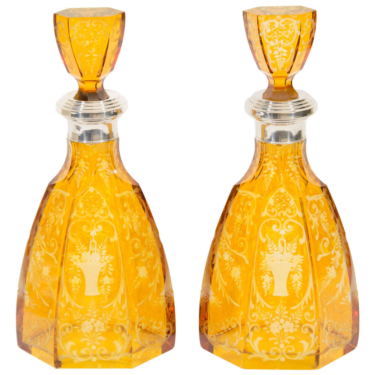 Etched amber crystal bohemian decanters at 1stdibs