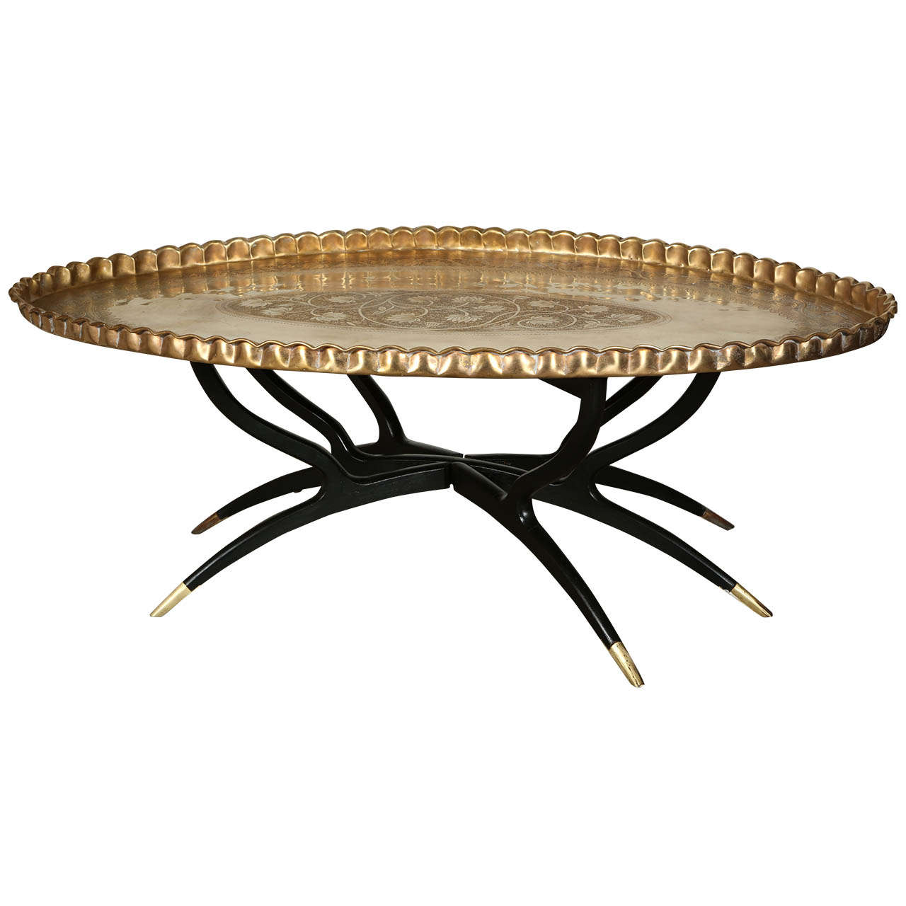 Mid Century Large Oval Brass Tray Table On Spider Legs 1