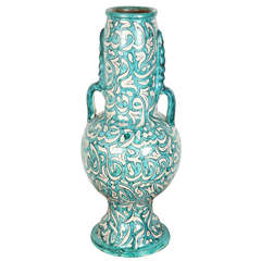 Large Handcrafted Moroccan Ceramic Vase From Fez