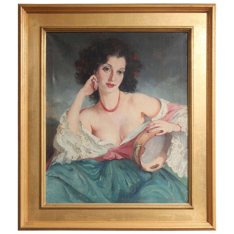 "Maria Szantho ""Woman with Tambourine"", 1930s For Sale"