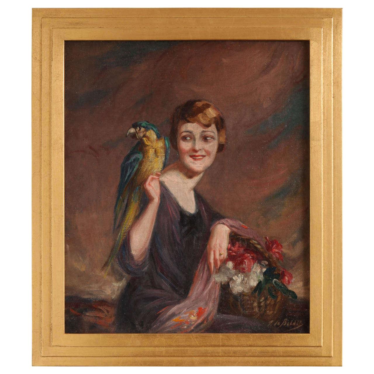 Art Deco Oil on Canvas by Pierre Mitiffiot De Bélair