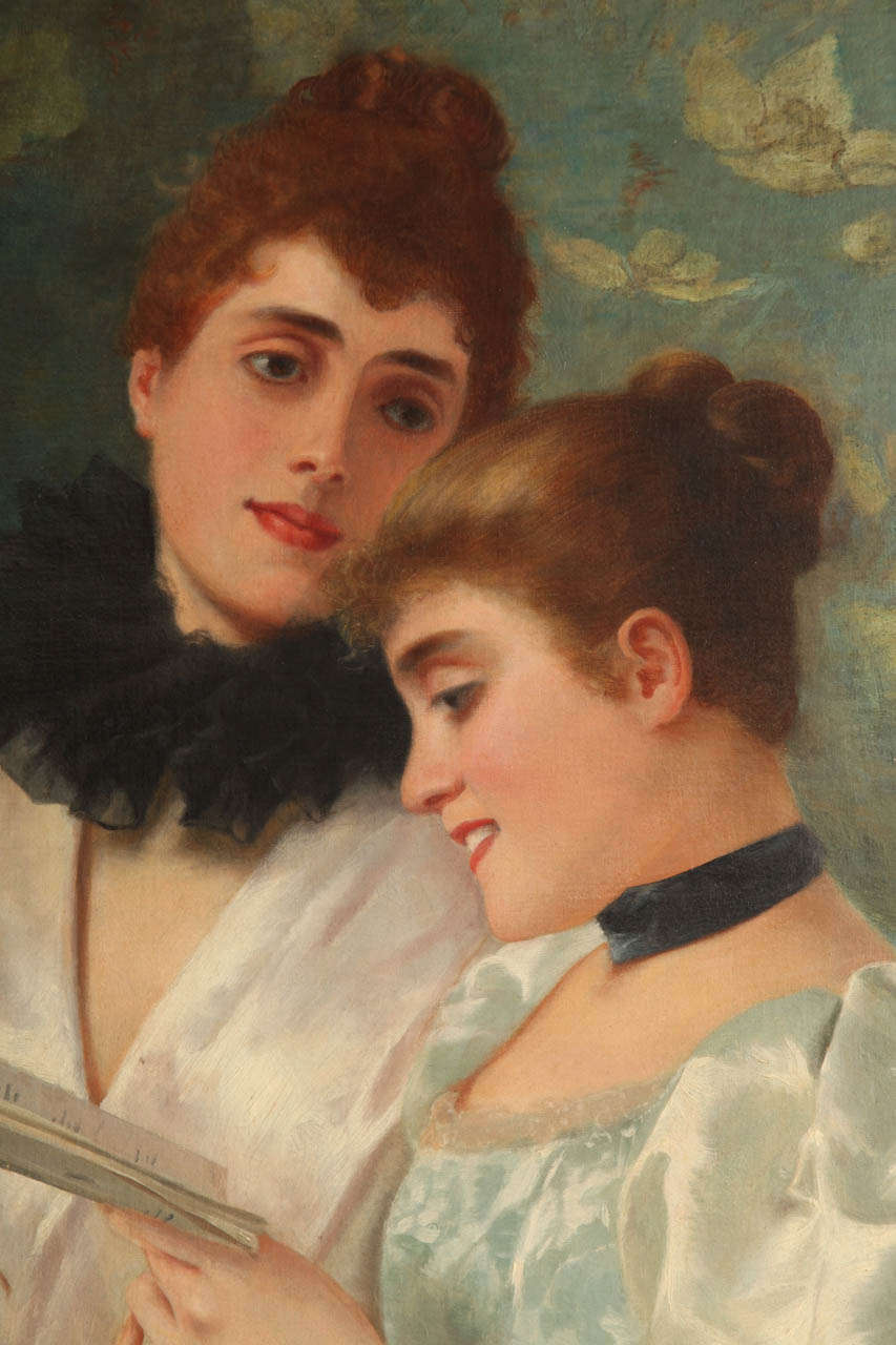 Romantic Oil on Canvas by Adolfo Belimbau For Sale