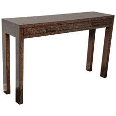 Ebonized and Cerused Oak Console Table