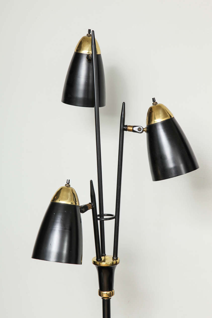Mid Century Modern Black Lacquered Metal And Br Three Light Floor