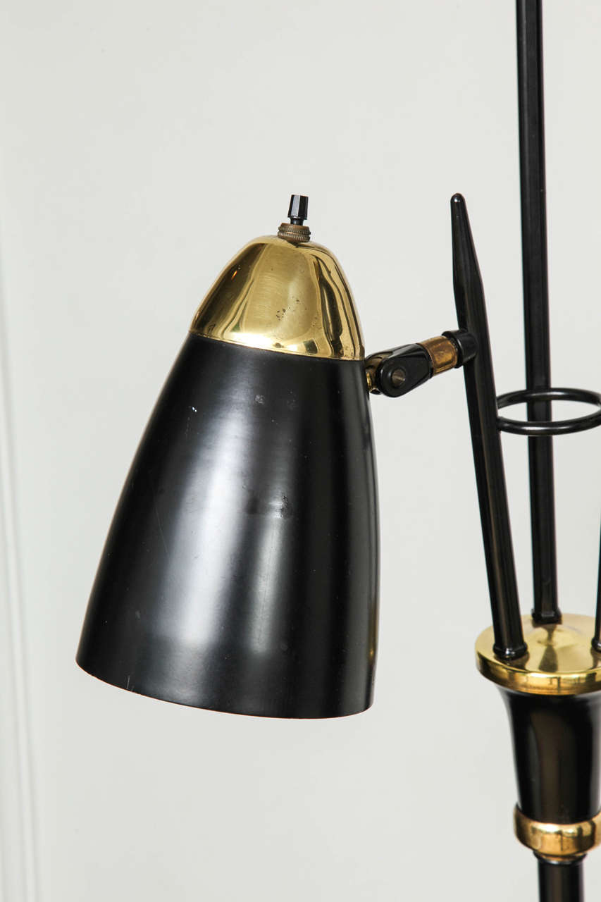 Mid Century Black Lacquered Metal And Brass Three Light