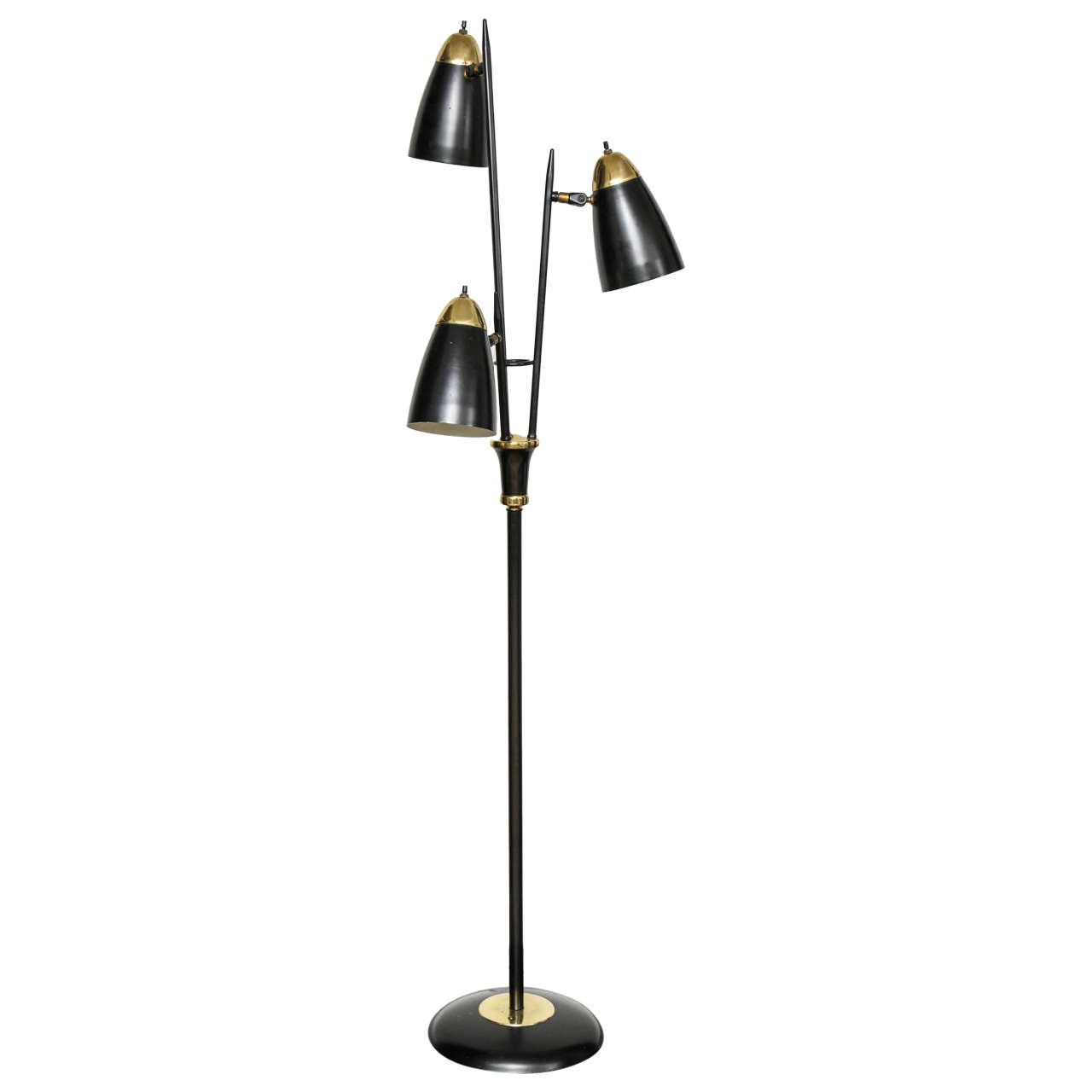 Mid Century Black Lacquered Metal And Brass Three Light Floor Lamp 1