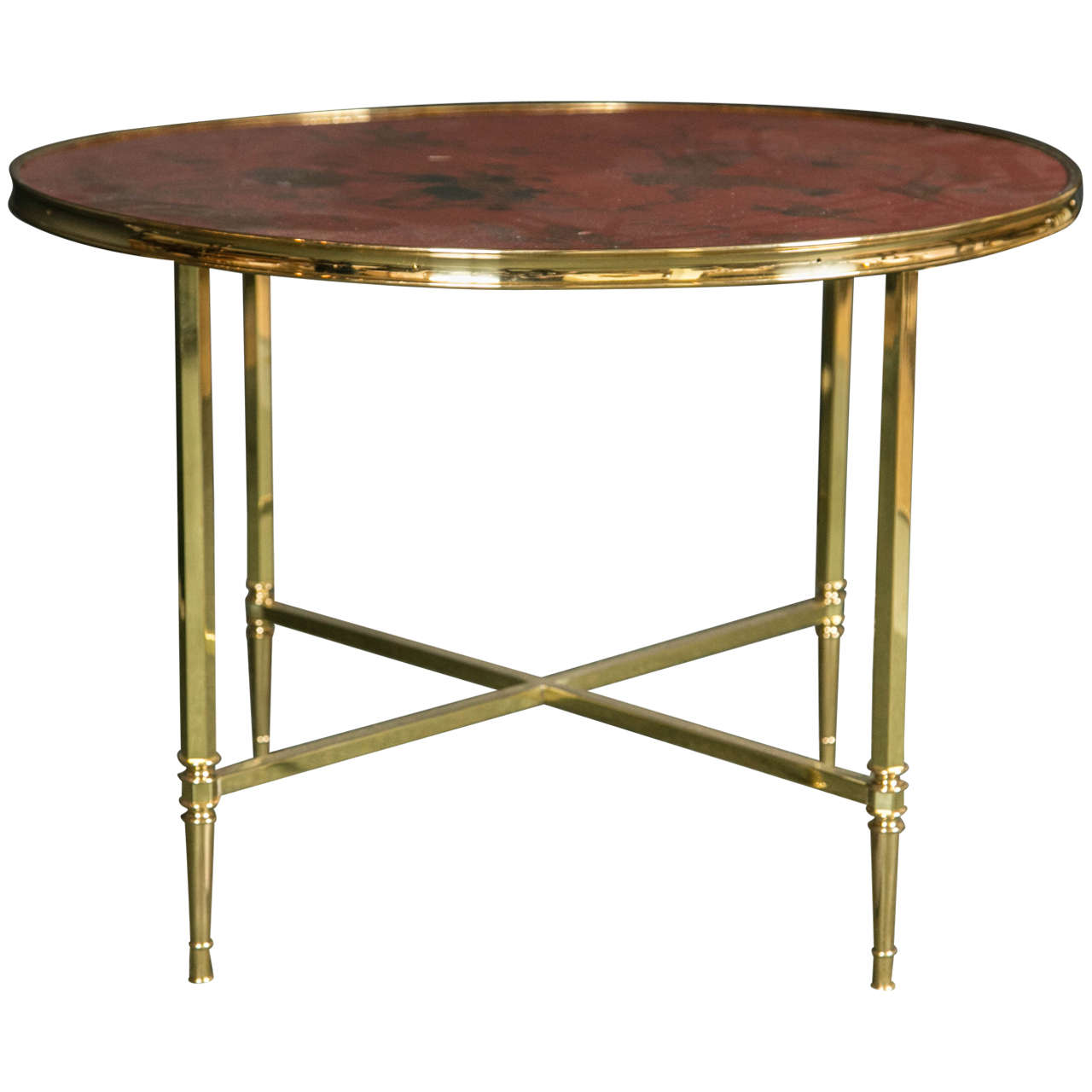 French Polished Brass Coffee Table With Lacquered Top For