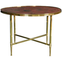 French polished brass coffee table with lacquered top