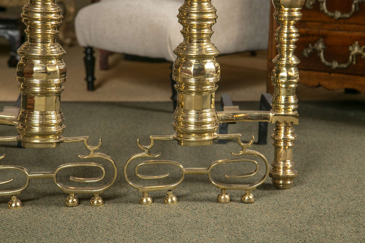 Early 20th Century Pair of Monumental Brass Andirons For Sale