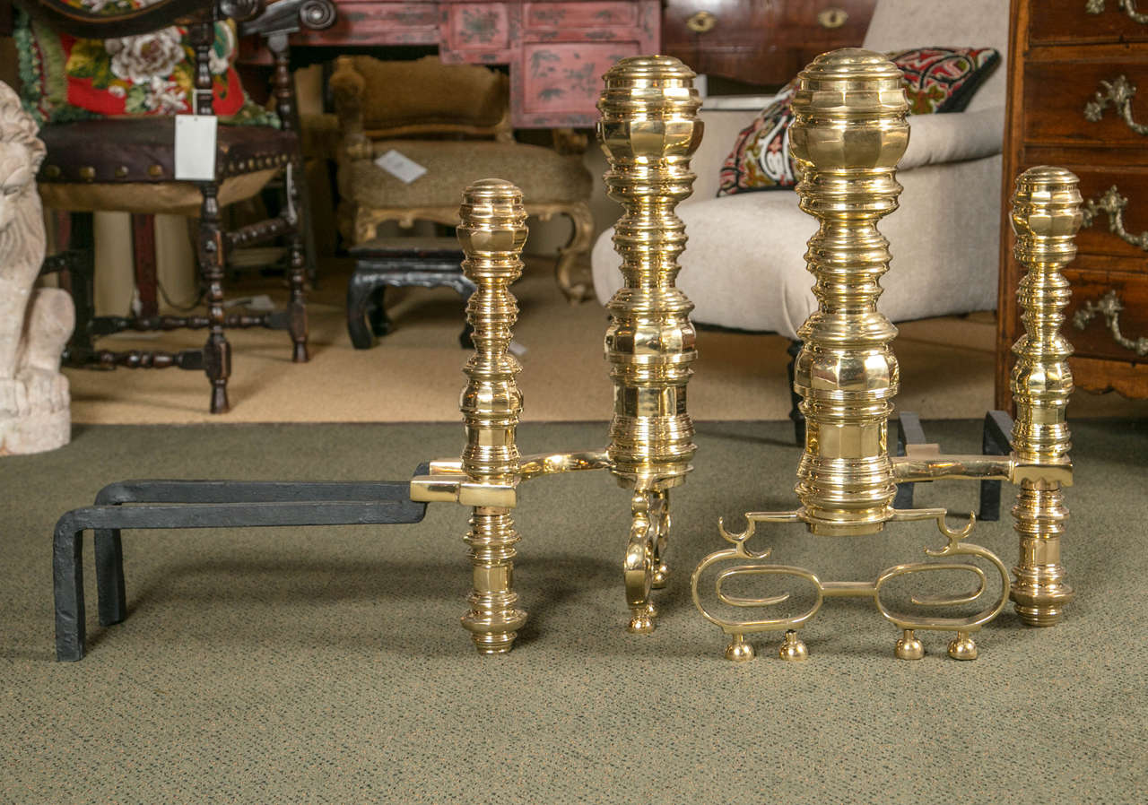 Pair of Monumental Brass Andirons For Sale 1