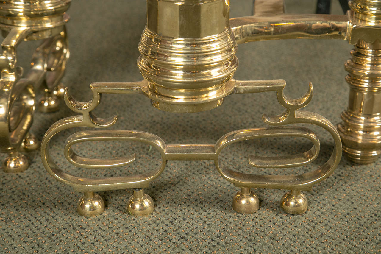 Pair of Monumental Brass Andirons For Sale 3