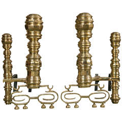Pair of Monumental Brass Andirons