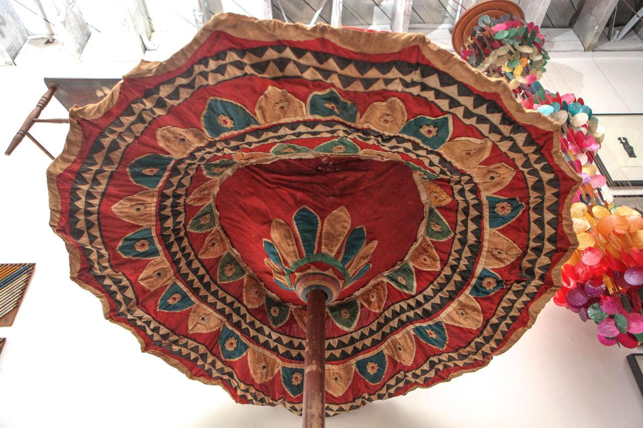 Mid-20th Century Moroccan Brightly Stitched Umbrella