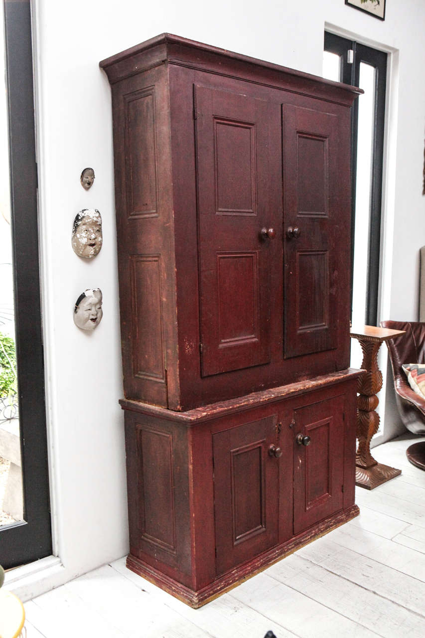 Large Two Piece Rustic Red Cabinet / Cupboard at 1stdibs