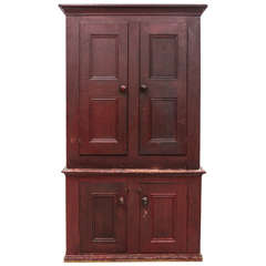 Large Two Piece Rustic Red Cabinet / Cupboard