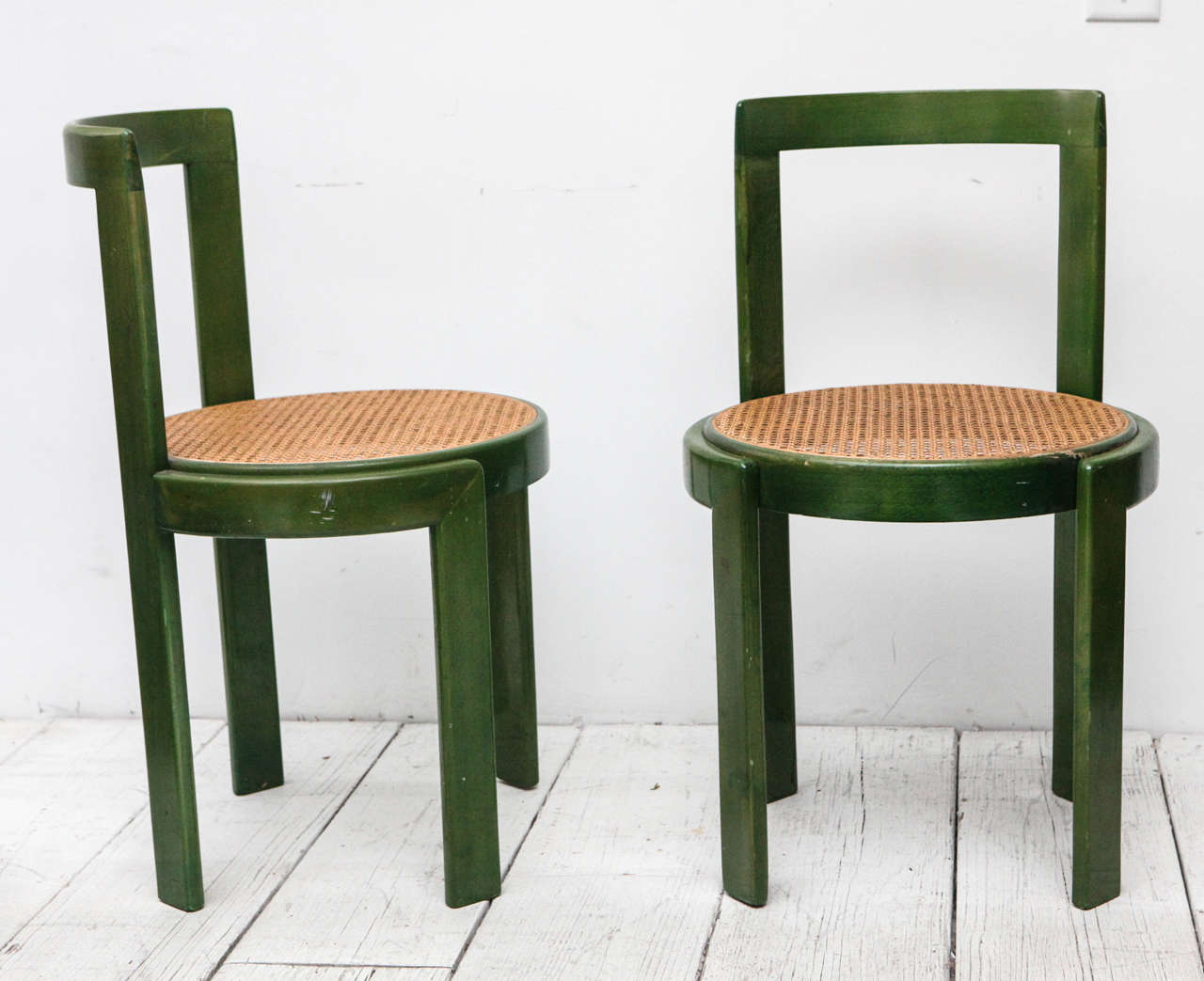 Set Of Four Green Stain And Cane Round Seat Dining Chairs At 1stdibs. Full resolution  img, nominally Width 1280 Height 1043 pixels, img with #946137.