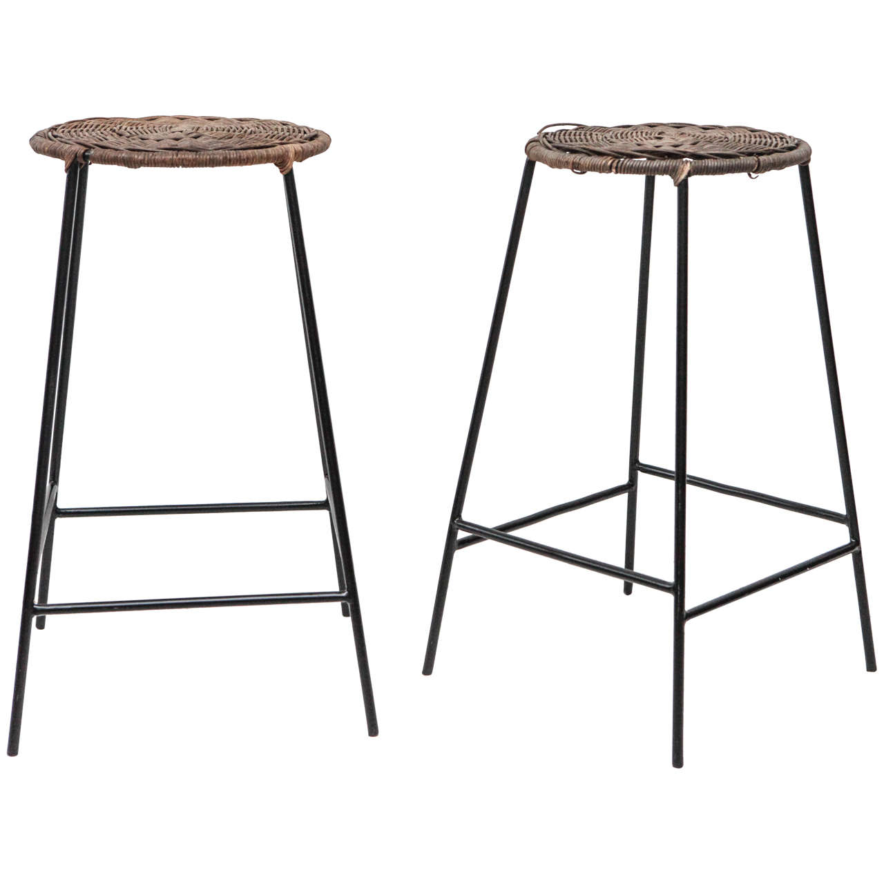 Arthur Umanoff Style Round Wicker Counter Stools At 1stdibs