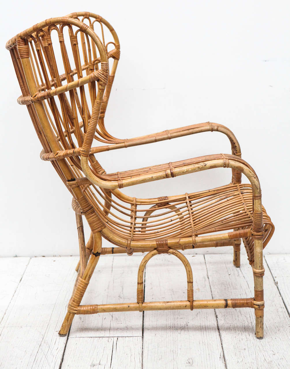 Delicieux Mid 20th Century Vintage Bamboo And Cane Wingback Lounge Chair For Sale