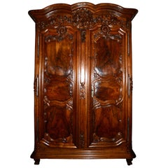 Large 18th Century Period Régence Armoire with Coat of Arms