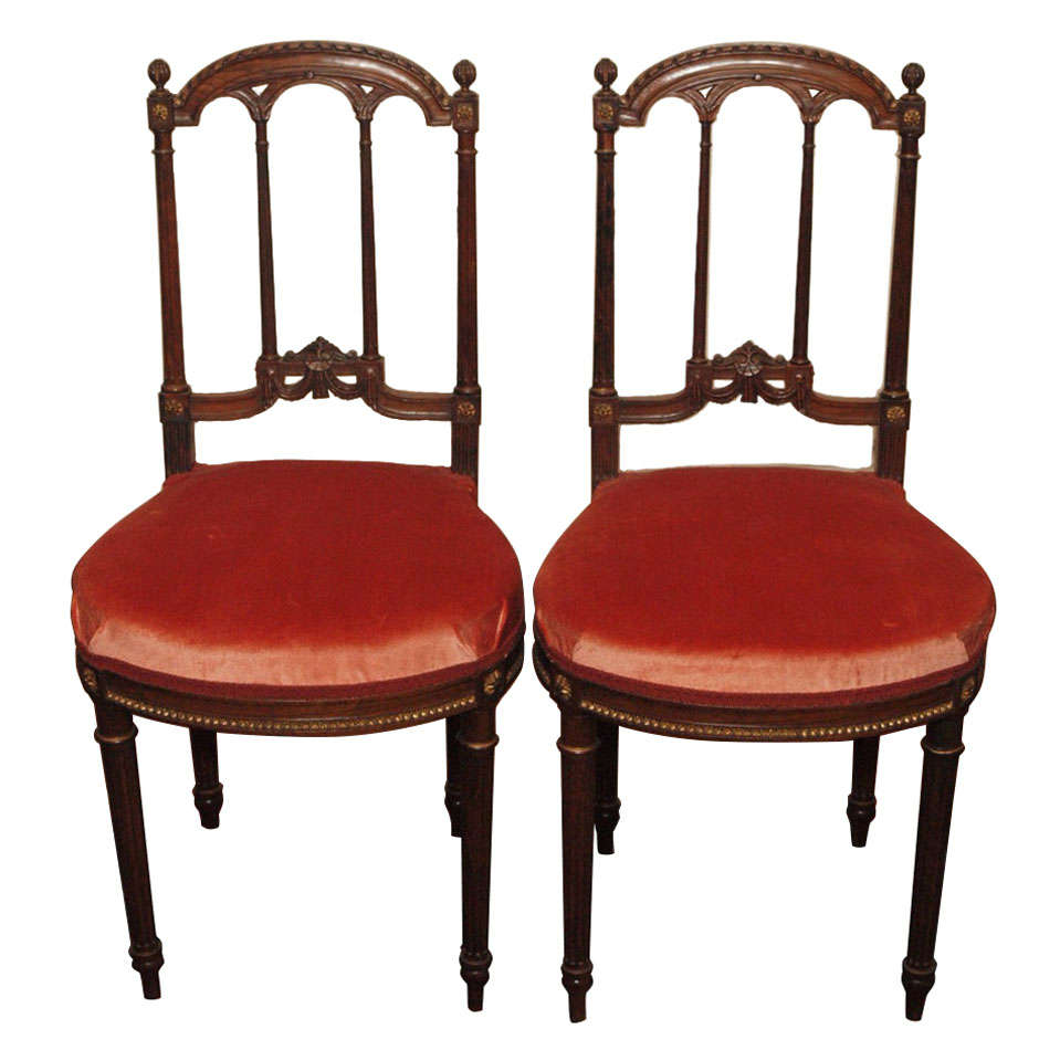 Pair Antique Rosewood Delicate Side Chairs For Sale At 1stdibs